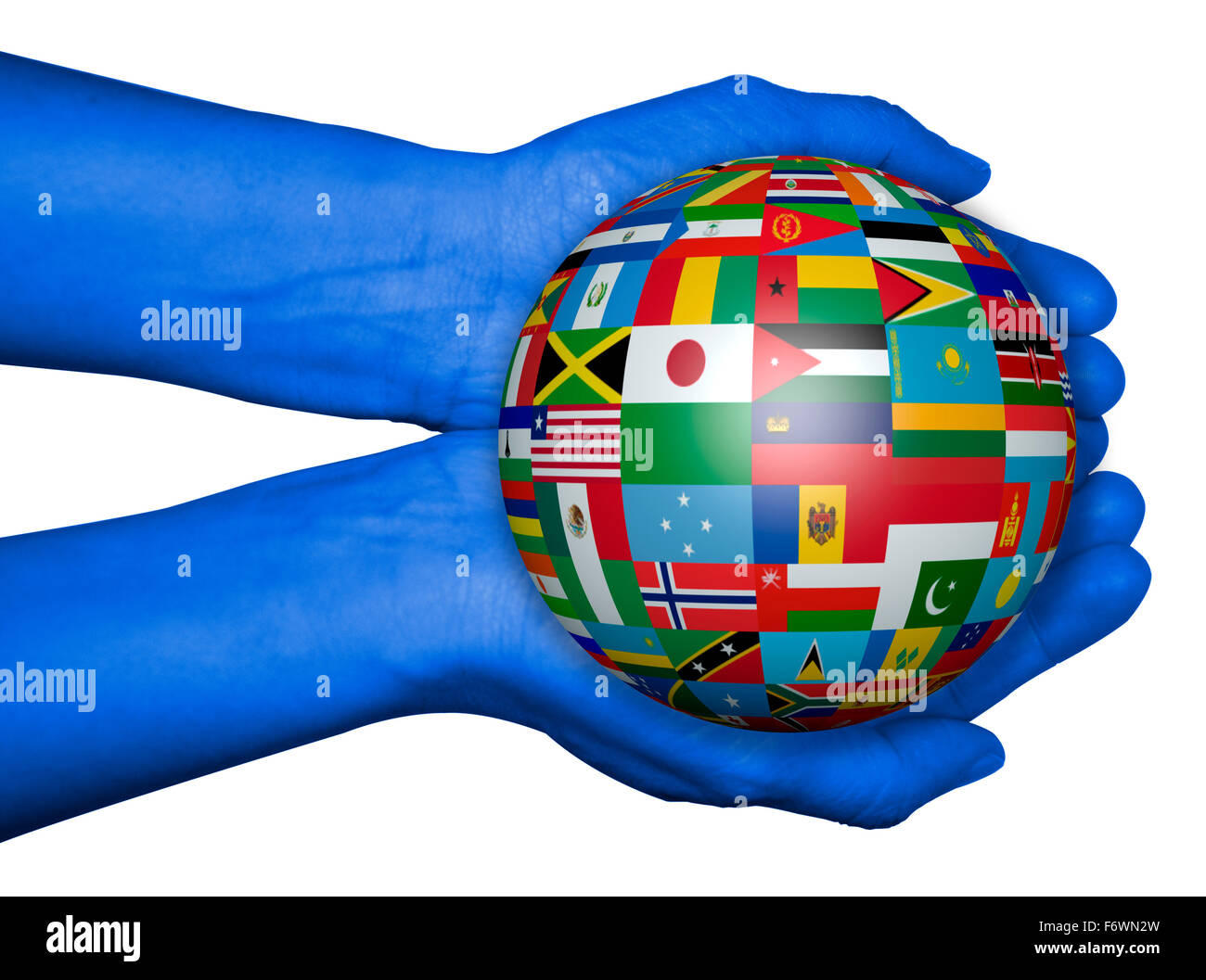 The world in your hands with world map flags stock photo royalty the world in your hands with world map flags gumiabroncs Gallery