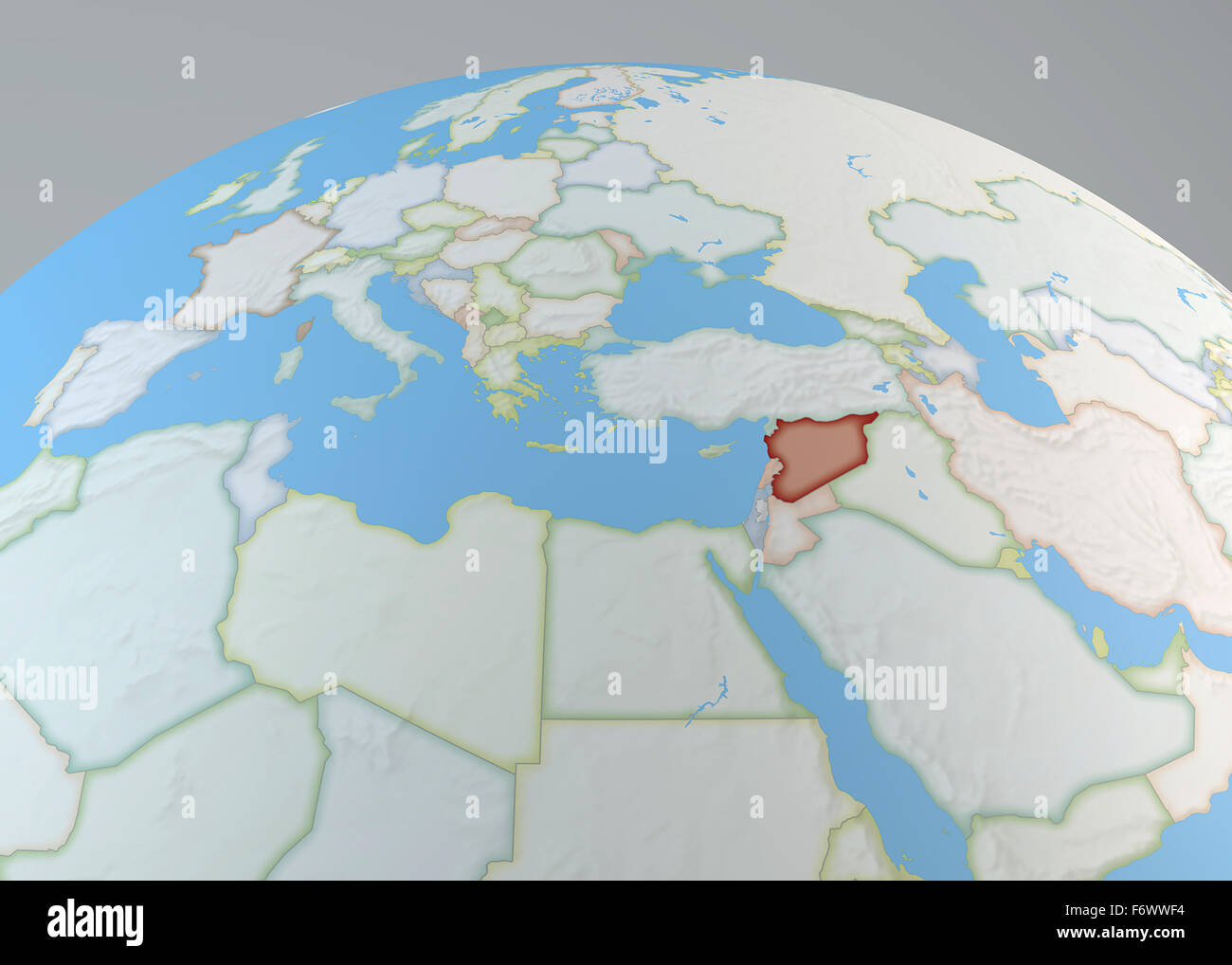World map of Middle East with Syria highlighted north Africa and