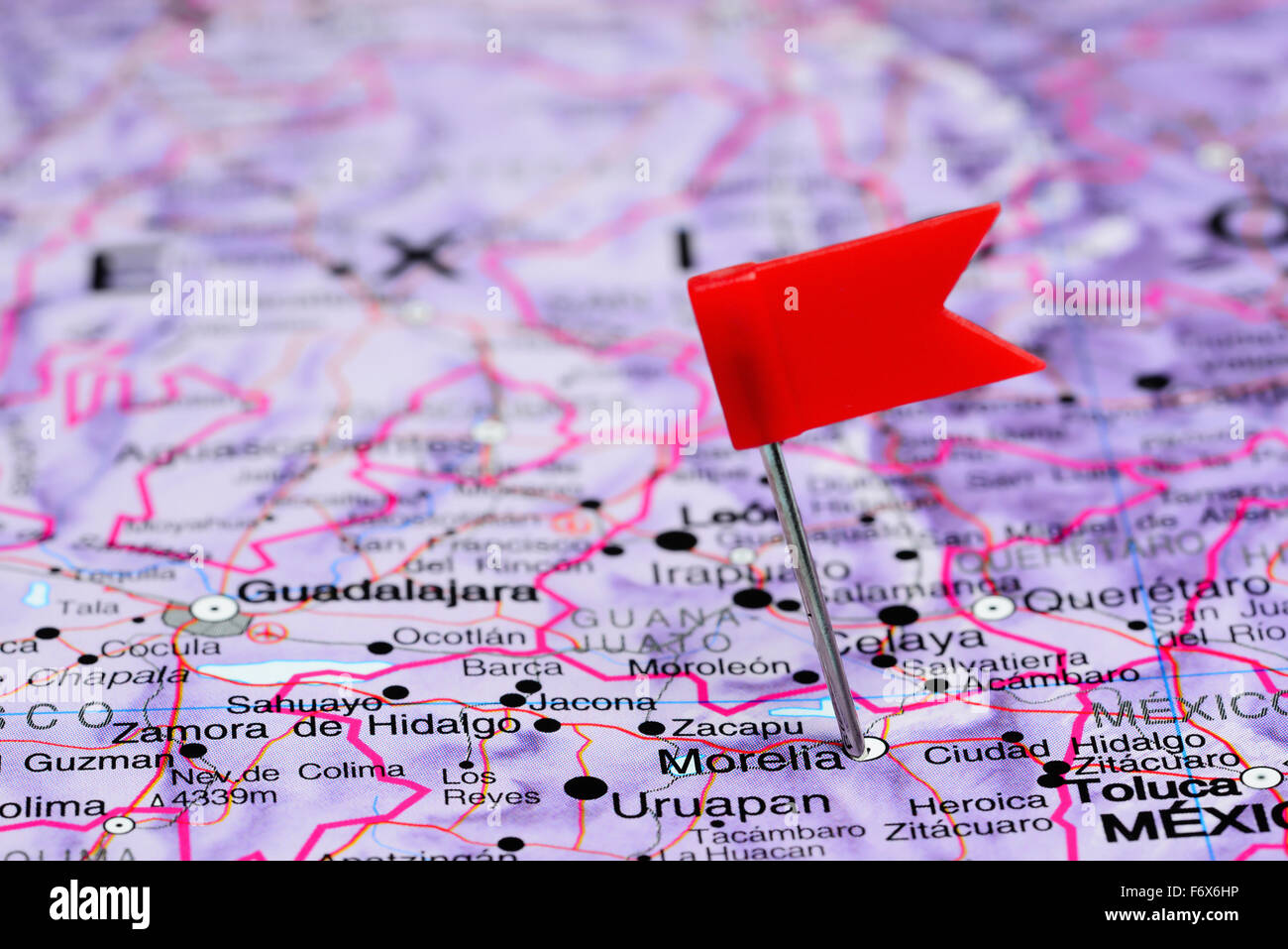 morelia pinned on a map of mexico stock photo royalty free image