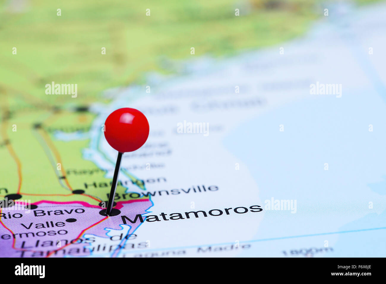 matamoros pinned on a map of mexico stock photo royalty free