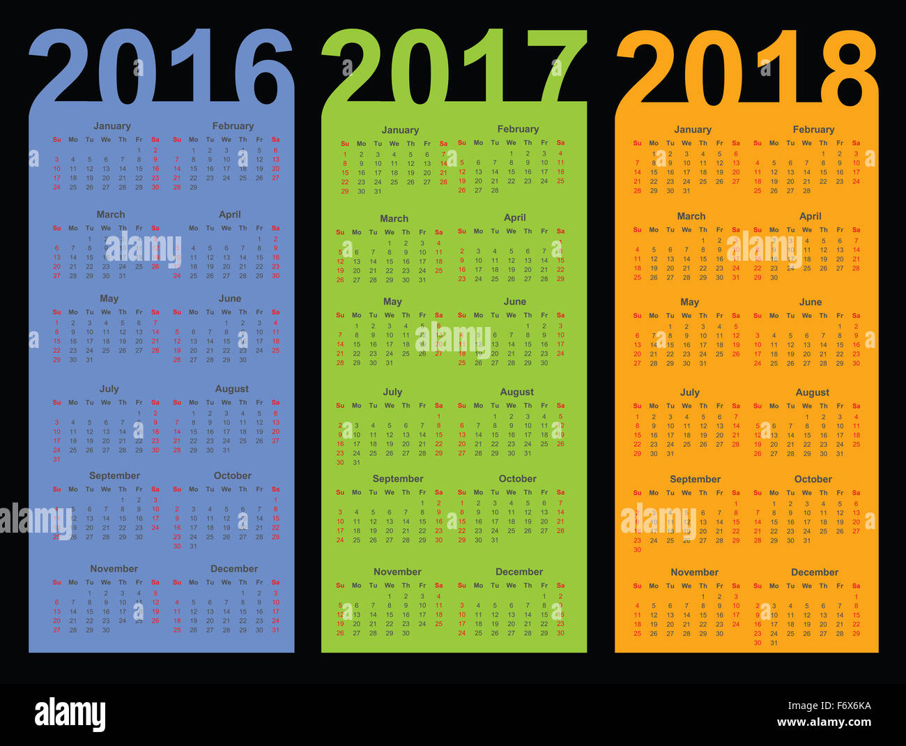 Calendar For 2016, 2017 And 2018 Year Stock Photo, Royalty Free Image ...