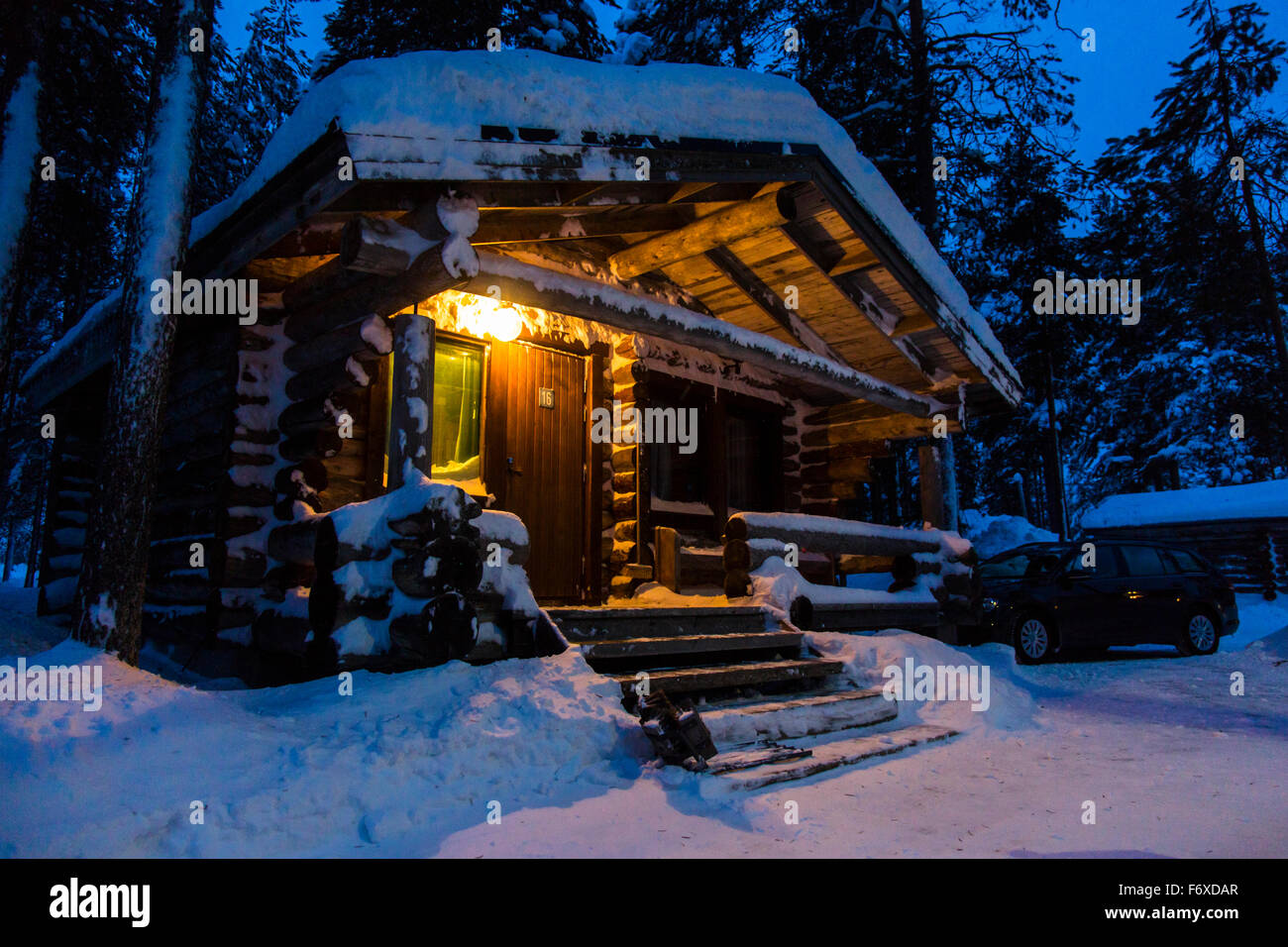 Log Cabin In Winter Posio Finland Lapland Scandinavia