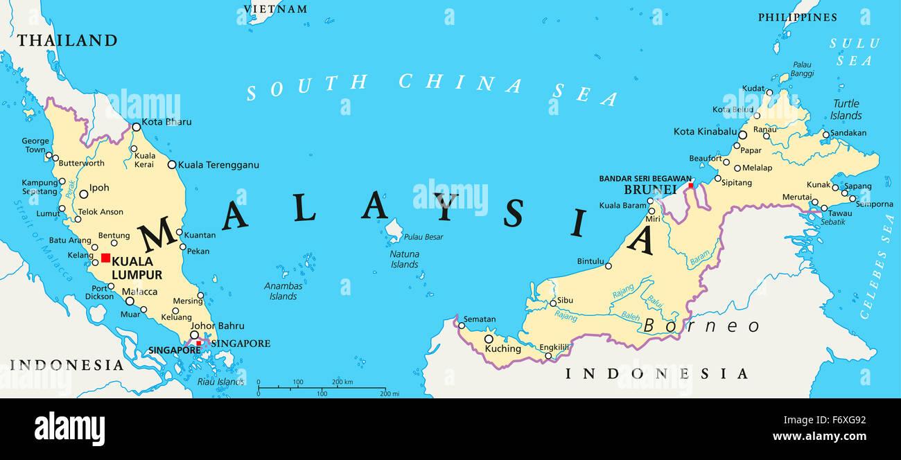 Malaysia Political Map With Capital Kuala Lumpur National Borders - English world political map