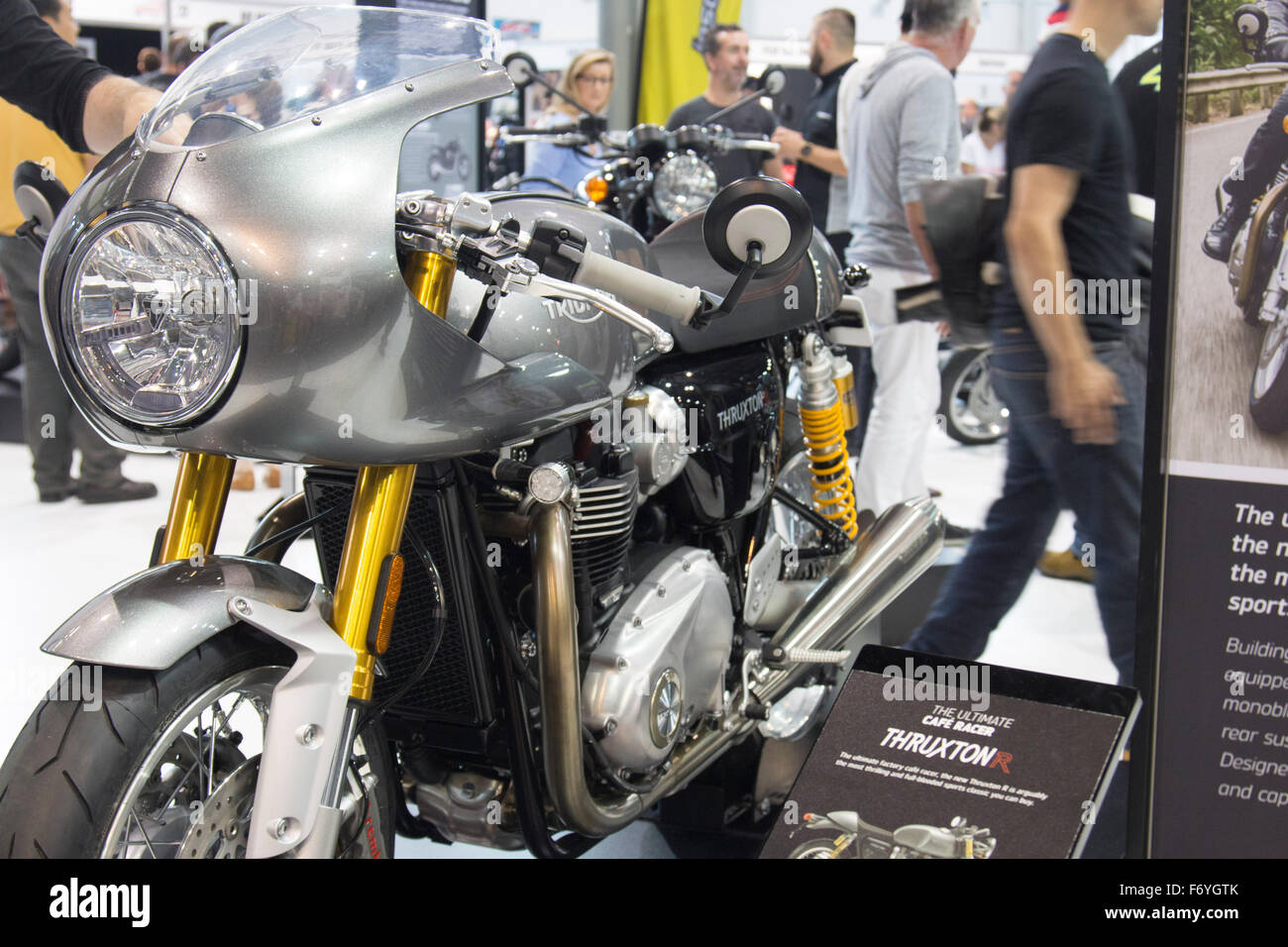 Triumph Thruxton R Cafe Racer At Sydney Motorcycle Show From Olympic ParkHomebushSydneyAustralia Credit Model10 Alamy Live