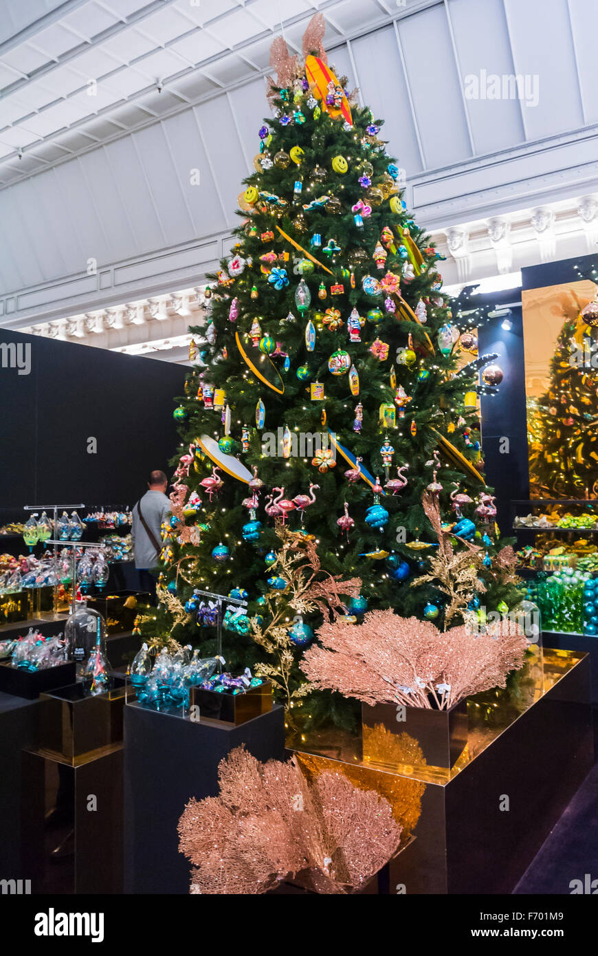 Paris France Christmas Trees on display Shopping for