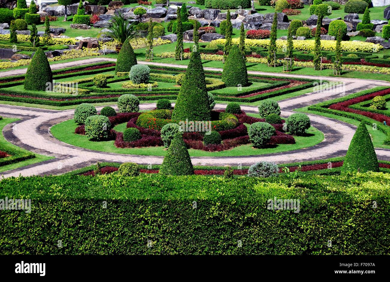 Pattaya Thailand Geometric patterns created from topiary