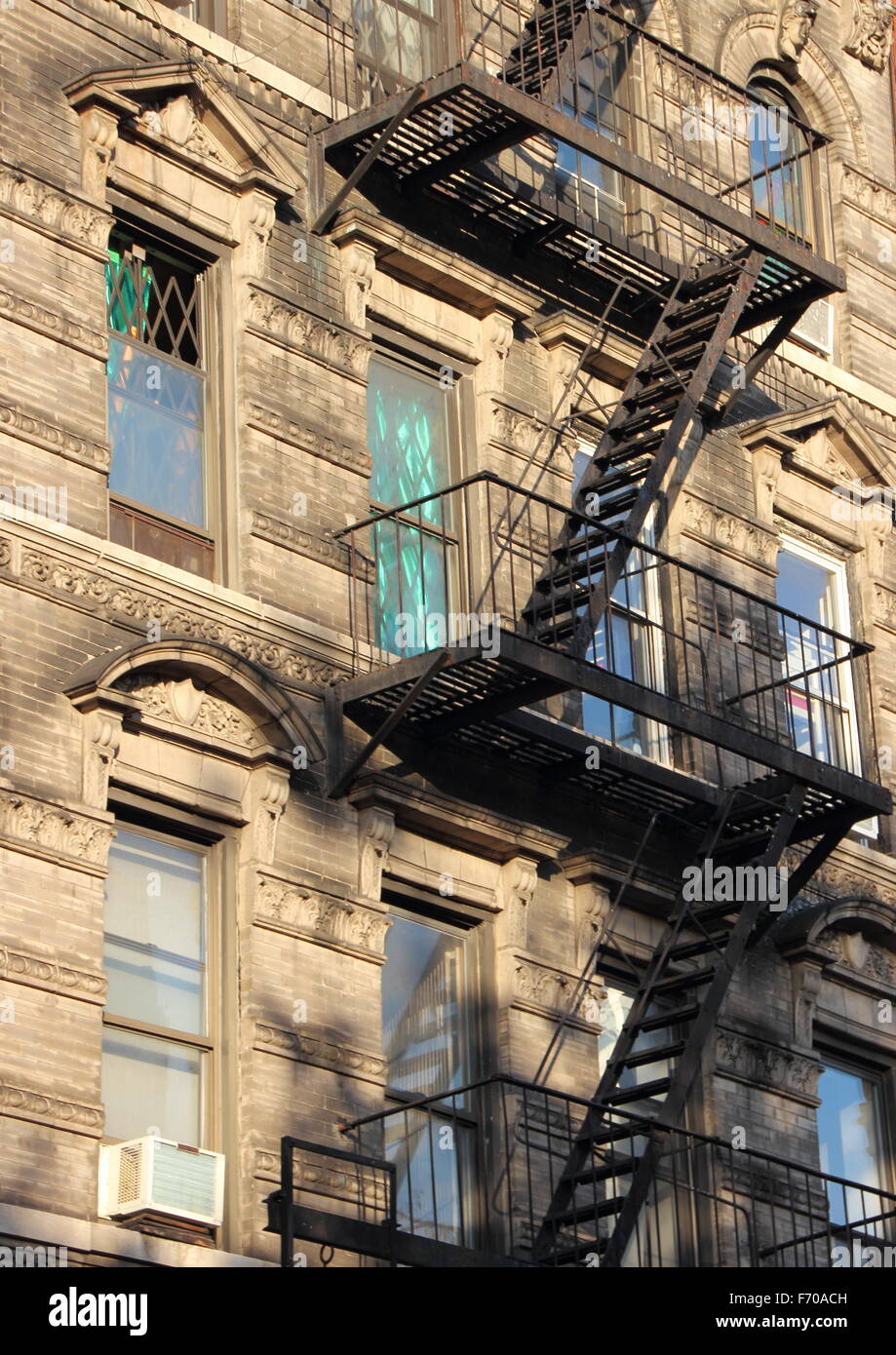 Apartment Building Fire Escape Ladder fire escape new york stock photos & fire escape new york stock