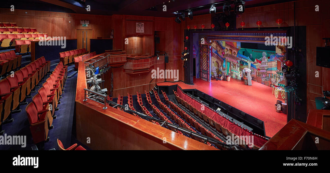 Panorama Of Illuminated Theatre Interior With Stage