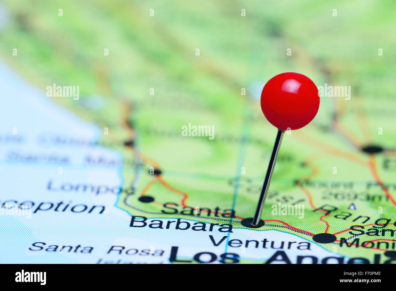 Santa Barbara Pinned On A Map Of USA Stock Photo Royalty Free - Santa barbara on us map
