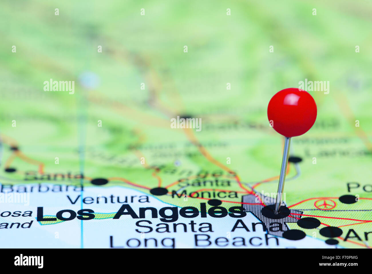 los angeles pinned on a map of usa