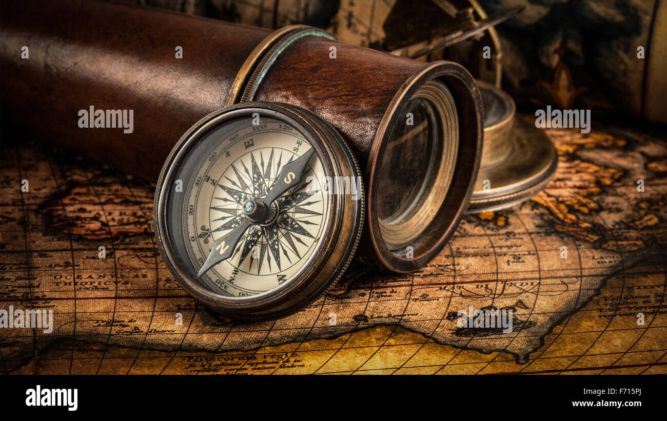 Old vintage compass on ancient map Stock Photo, Royalty ...