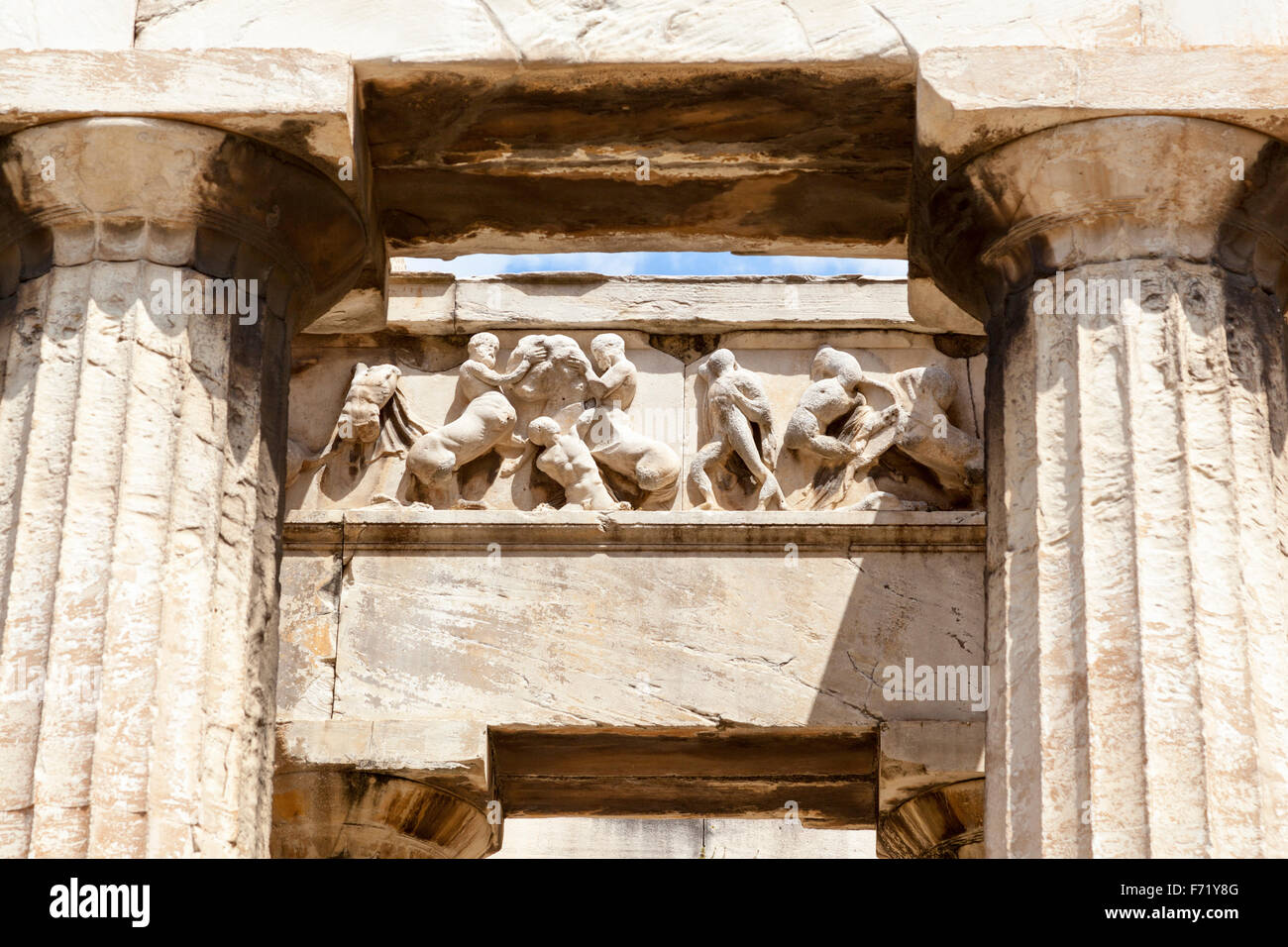 Frieze and columns, Temple of Hephaestus, Ancient Agora of ...