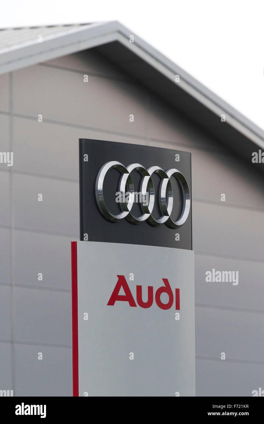 Audi Car Garage Sign Logo In Swansea South Wales Stock Photo - Audi car garage