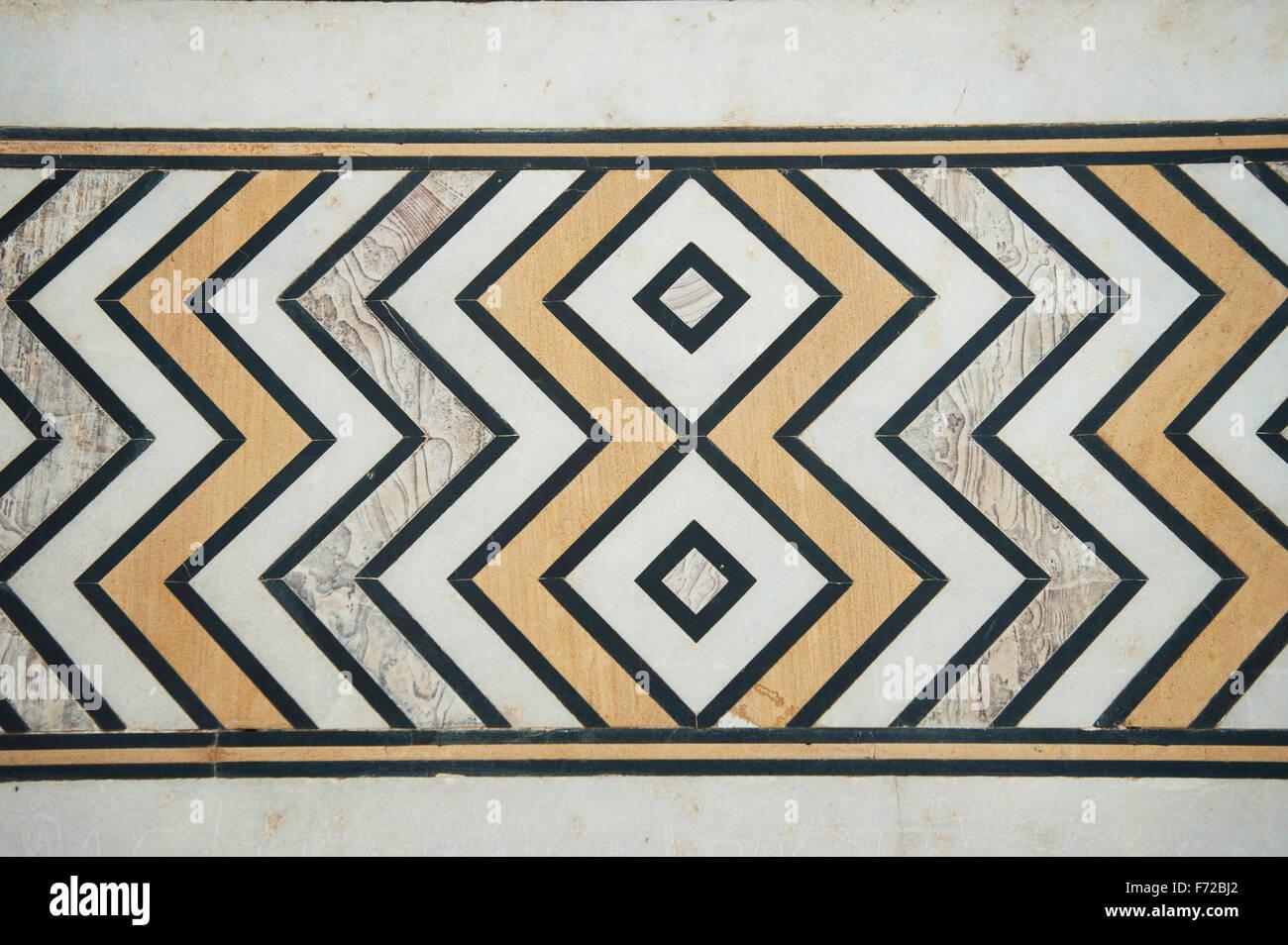 Marble floor tiles design  taj mahal  agra  uttar pradesh  india  asia. Marble floor tiles design  taj mahal  agra  uttar pradesh  india