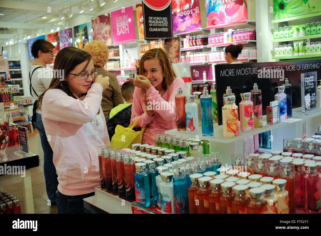Two pre teen girls shopping in  Bath and Body Works  in the GreenwoodBath And Body Shop Stock Photos   Bath And Body Shop Stock Images  . Bath And Body Shop Toronto. Home Design Ideas