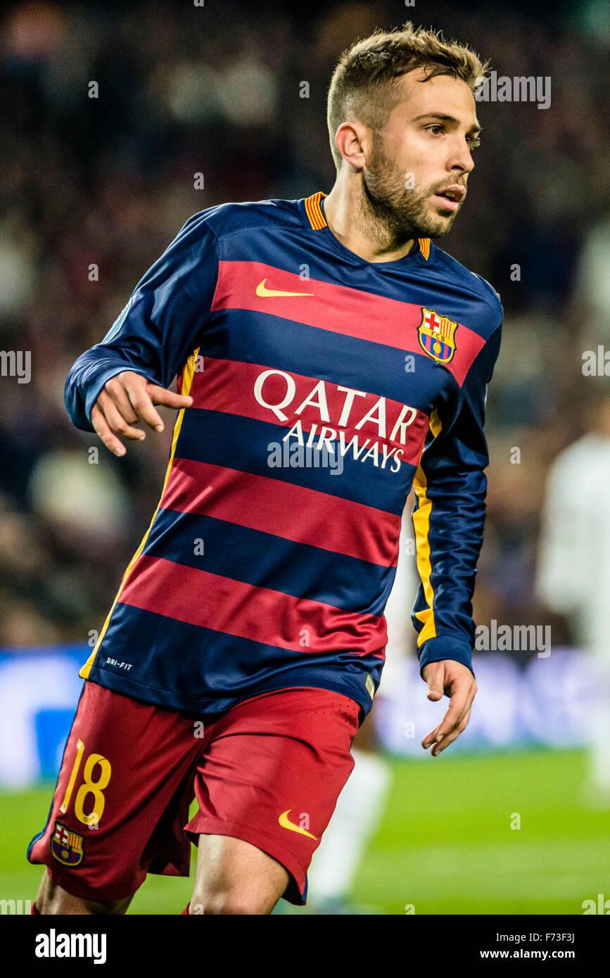 Barcelona Spain 24th Nov 2015 FC Barcelona s left back JORDI