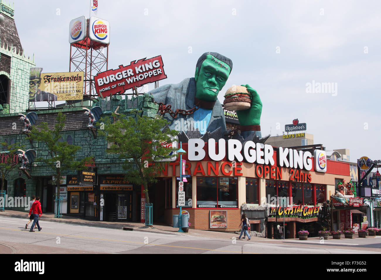 burger king restaurant with frankenstein holding a whopper hamburger stock photo 90432974 alamy. Black Bedroom Furniture Sets. Home Design Ideas