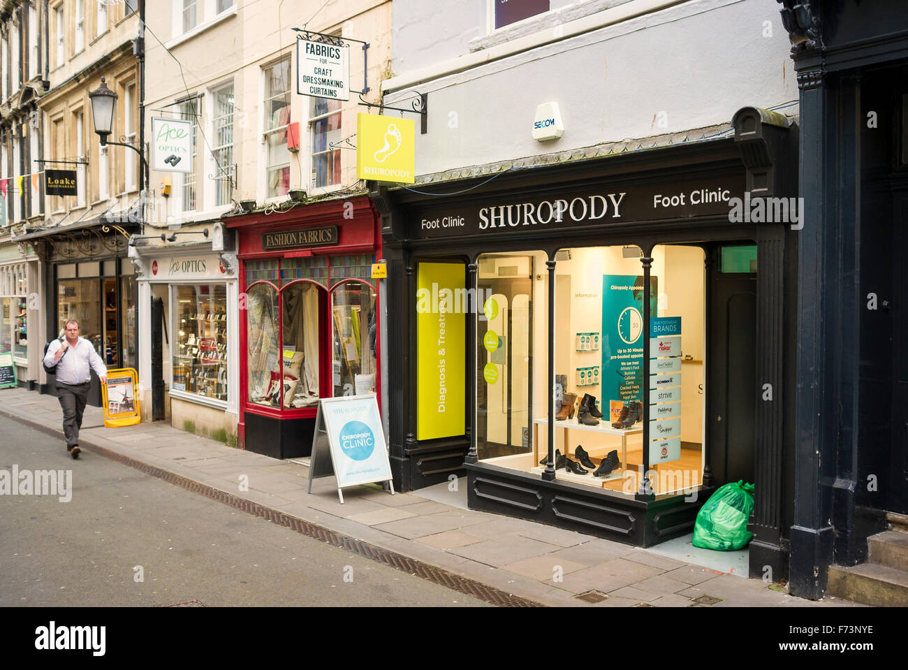 shops in green street bath including shuropody foot clinic stock photo