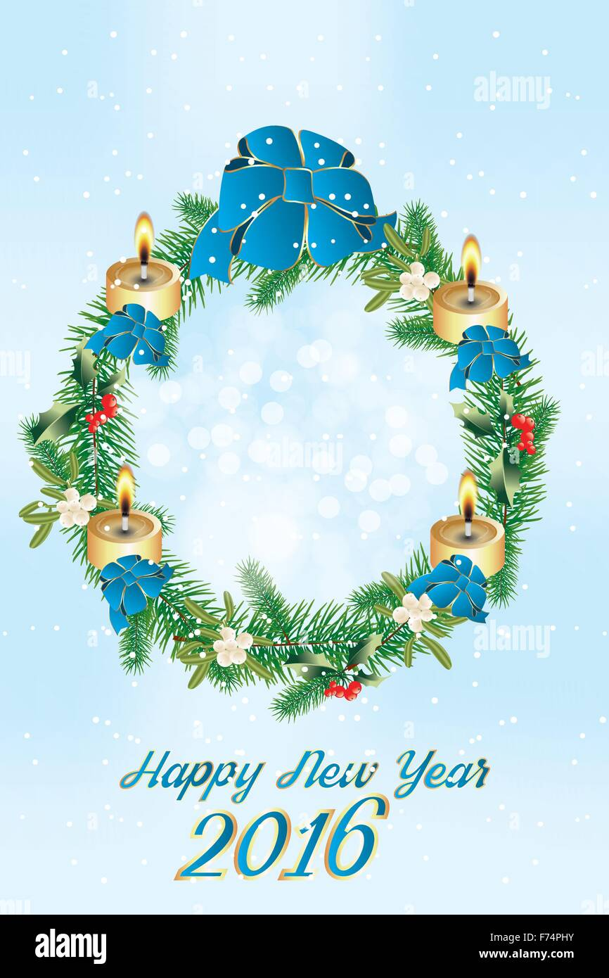 Beautiful wreath for christmas with mistletoe holly burning beautiful wreath for christmas with mistletoe holly burning candles and blue ribbons and text happy new year 2016 jpg an buycottarizona Image collections