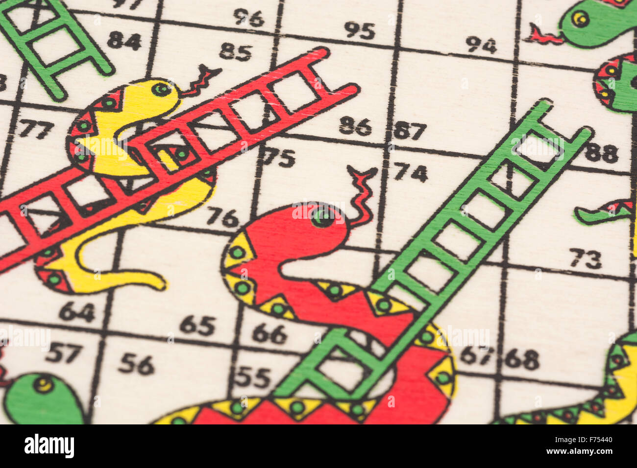 Close-up of a travelling 'Snakes and Ladders' board game ...