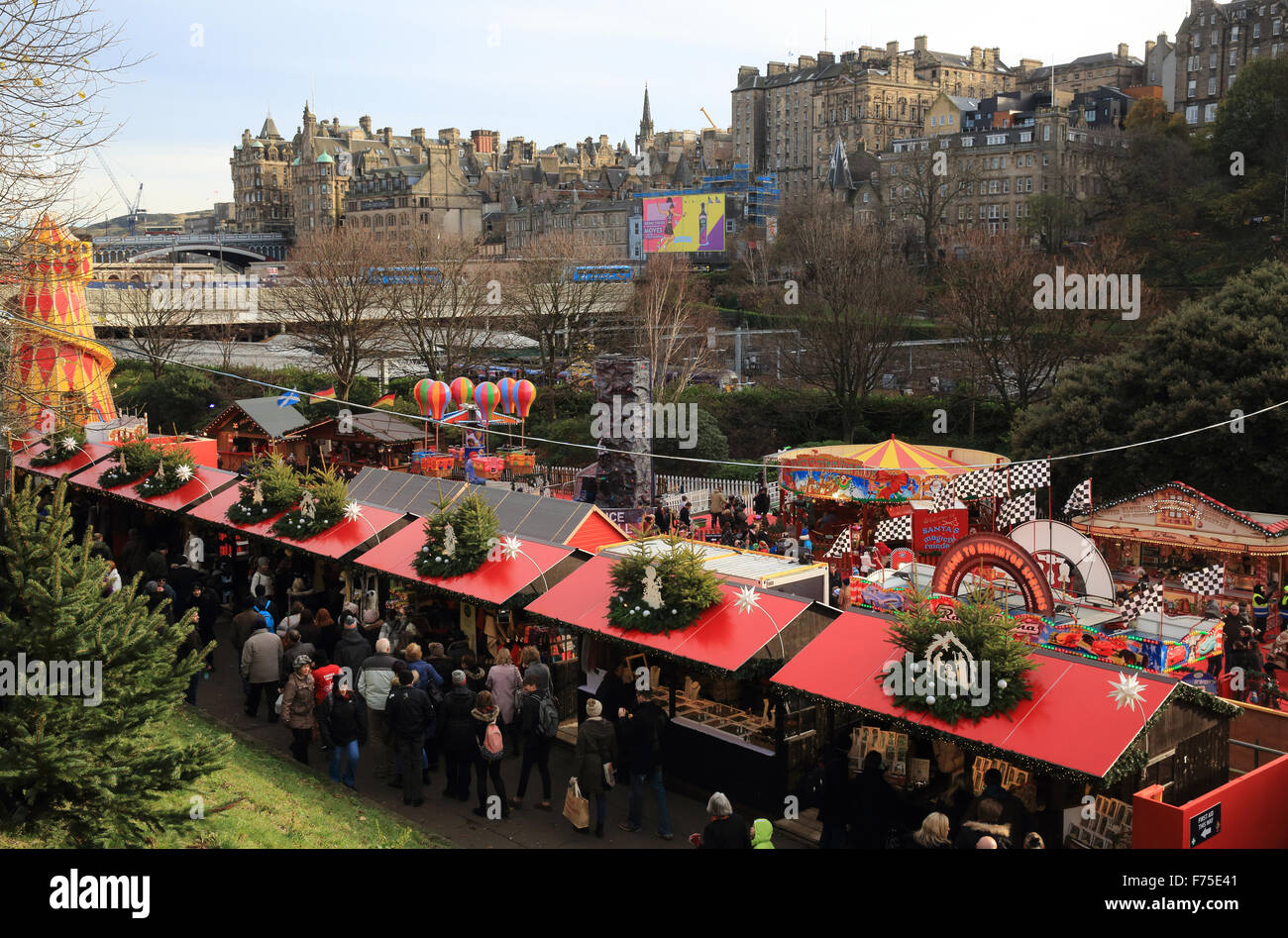 Popular Edinburgh Christmas market, in East Princes Street Gardens ...