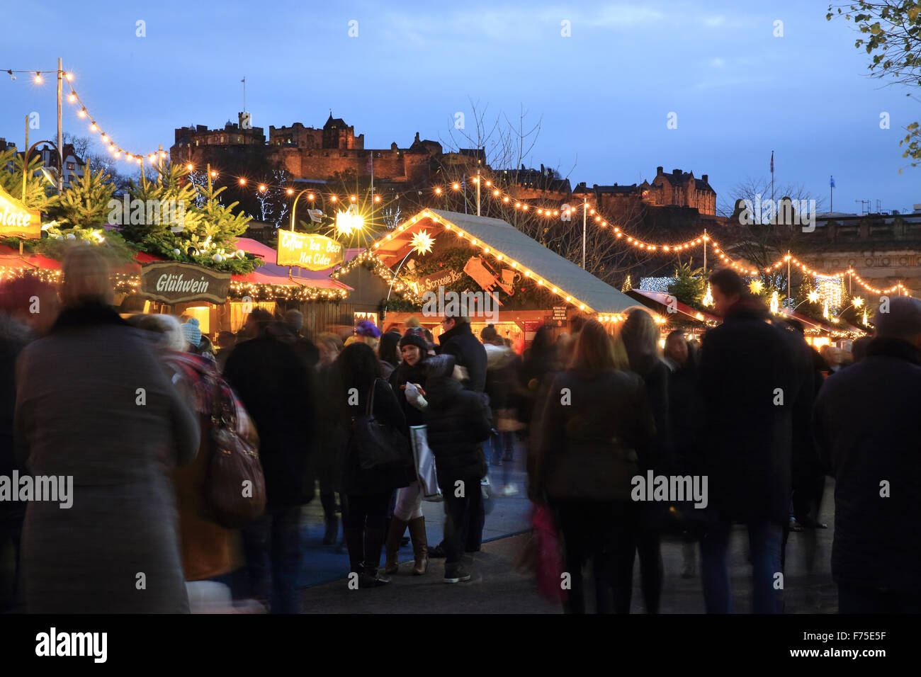 Edinburgh Christmas Market in East Princes Street Gardens, with ...