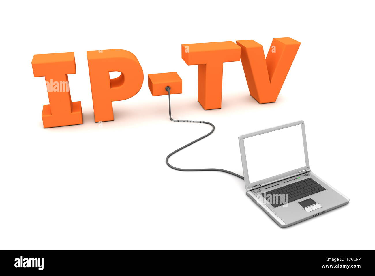 Laptop Wired to IP-TV - Orange Stock Photo, Royalty Free Image ...