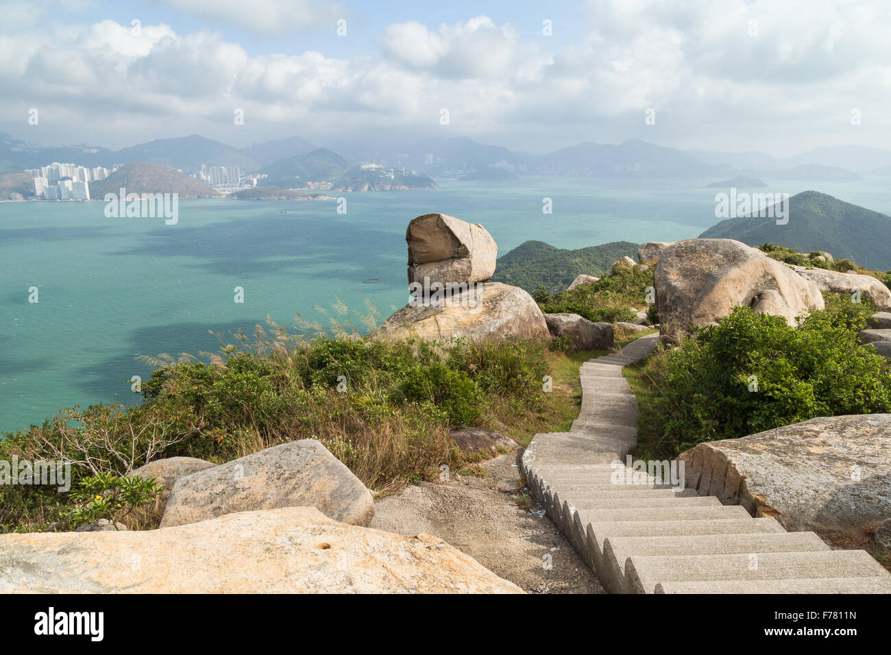 Scenic View Of Rocky Landscape, Stairs, Ocean And Hong Kong Island From The  Ling Kok Shan Hill At The Lamma Island In Hong Kong.