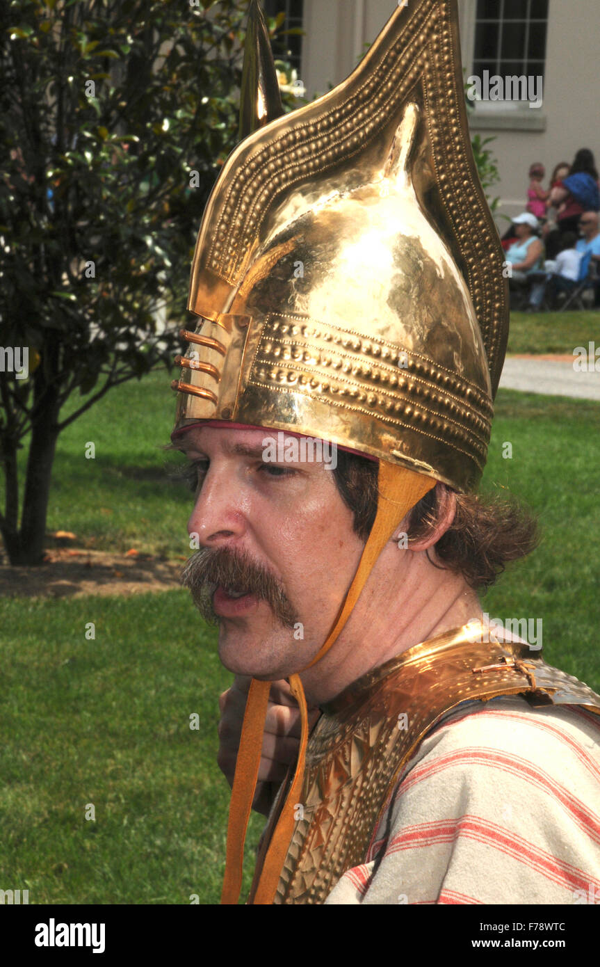 man dressed as a roman soldier during a reenactment of roman days