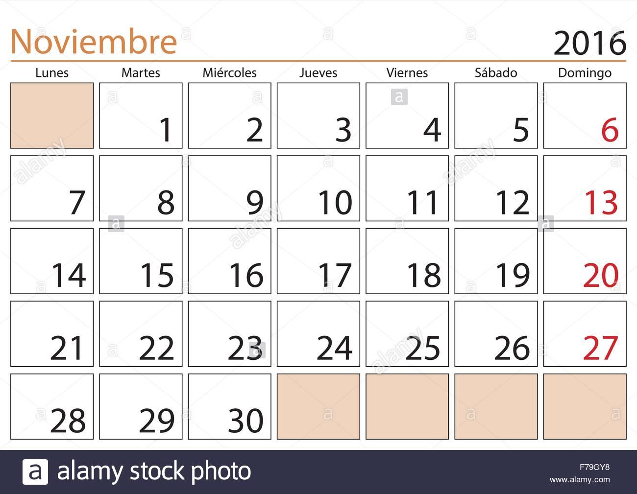 ... in a year 2016 calendar in spanish. Noviembre 2016. Calendario 2016