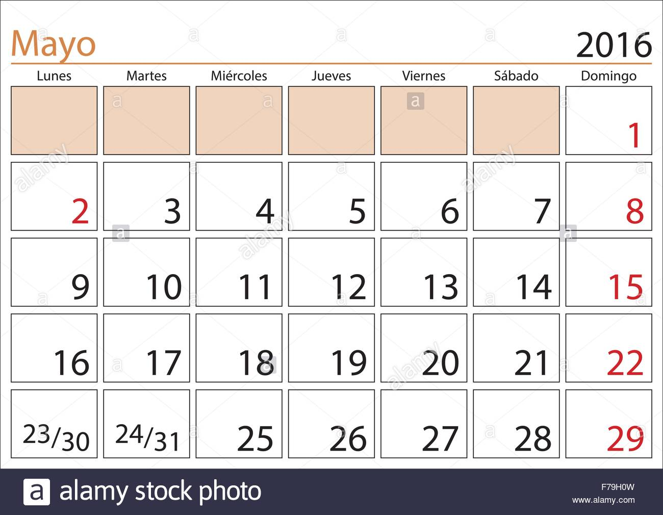 May month in a year 2016 calendar in spanish. Mayo 2016. Calendario ...