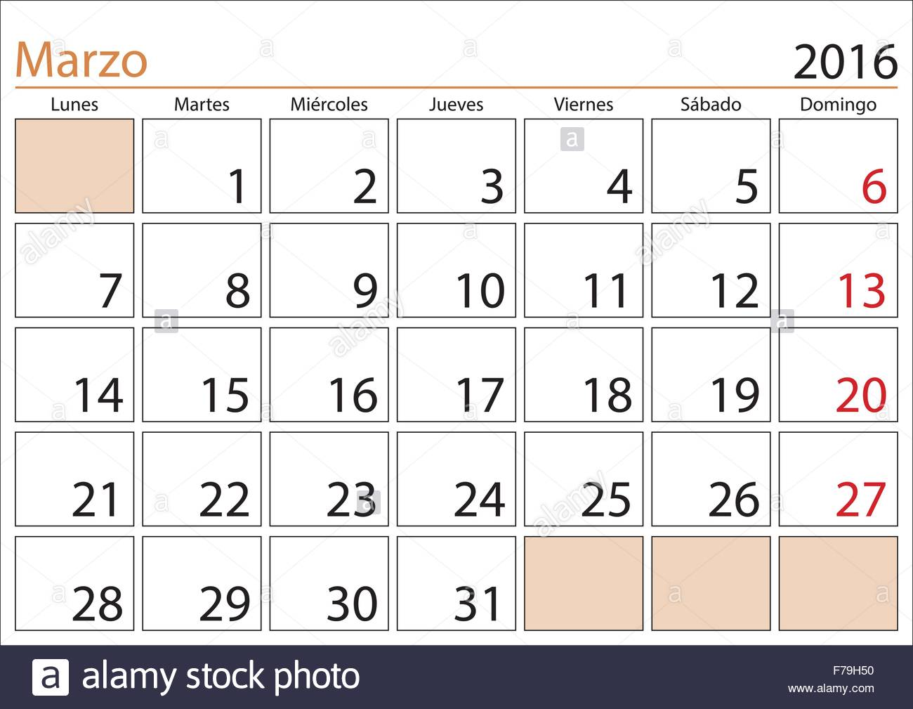 foto de March month in a year 2016 calendar in spanish Marzo 2016 Stock Vector Art & Illustration