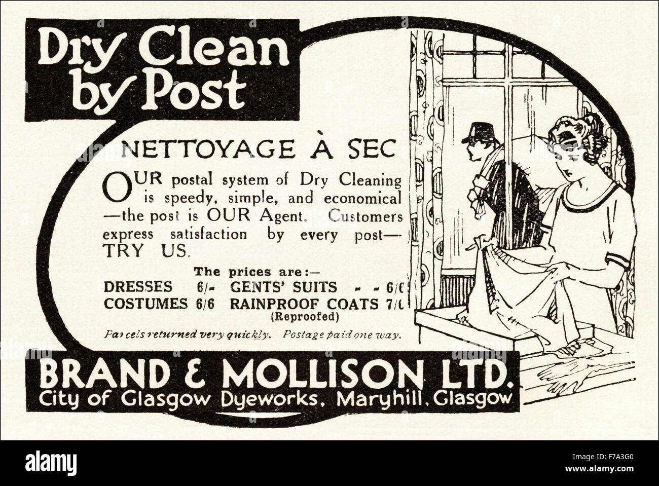 1920s advertisement advert dated 1923 advertising dry clean by advert dated 1923 advertising dry clean by post by brand mollison of glasgow