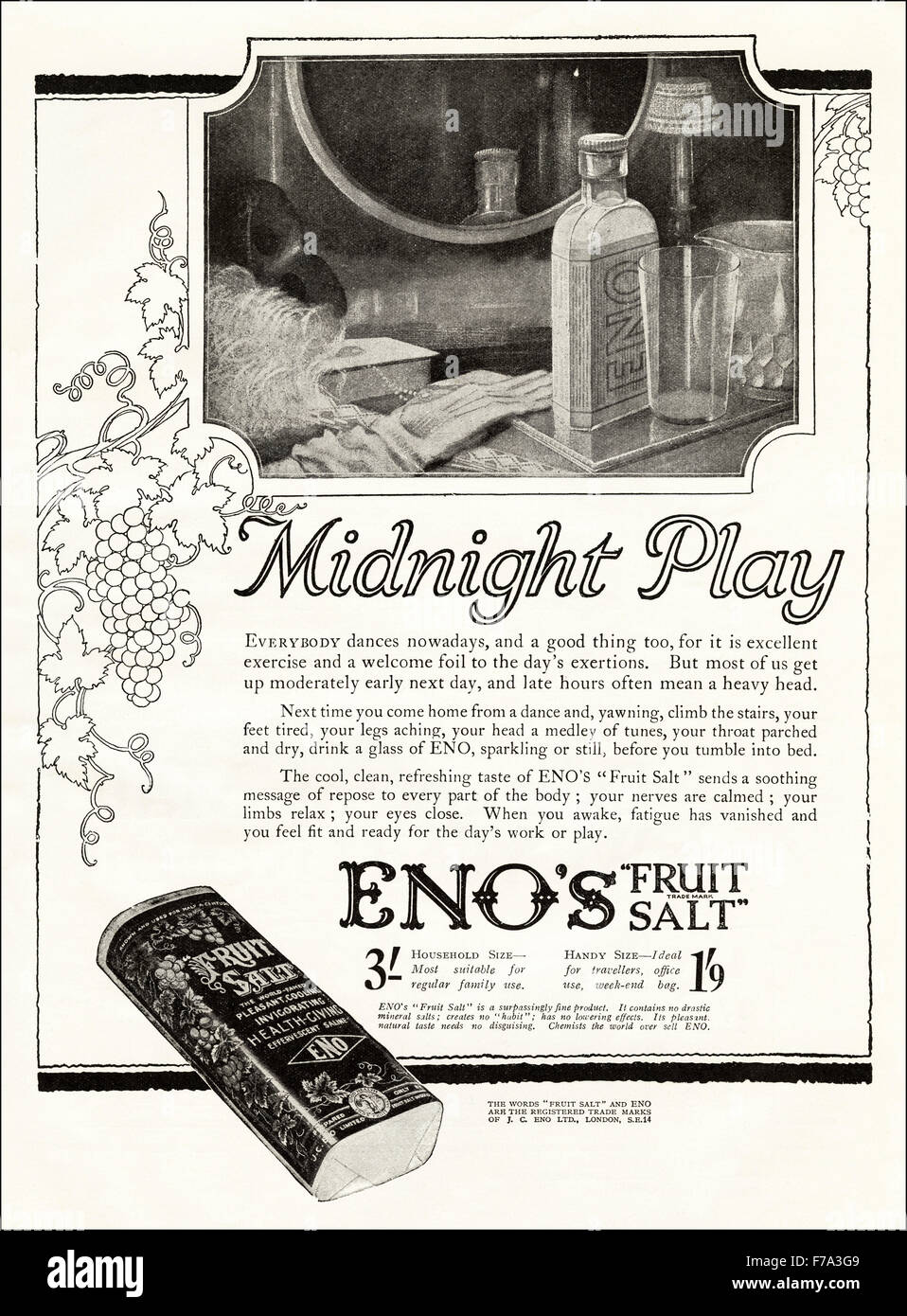 Eno S Tarots Grand Etteilla: 1920s Advertisement. Advert Dated 1923 Advertising Eno's