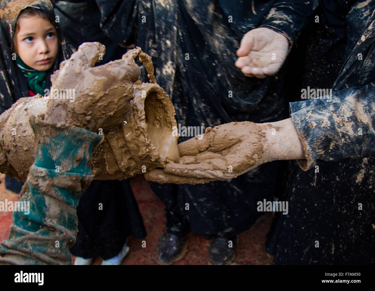 Iranian Shiite Muslim Women Covering Themselves In Mud During