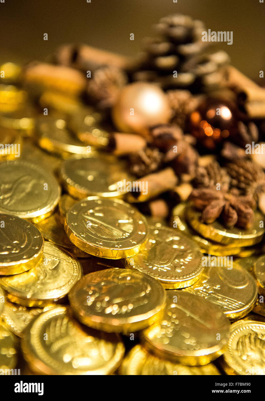 Chocolate Coins Wrapped in Foil Stock Photo, Royalty Free Image ...