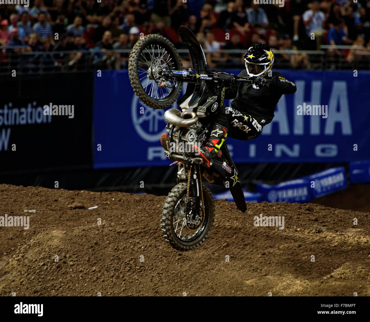 Sydney Olympic Park Australia 28th Nov 2015 The AUS X Open Motocross Day One Jackson Strong Lands After Scoring A Perfect 10 To Take