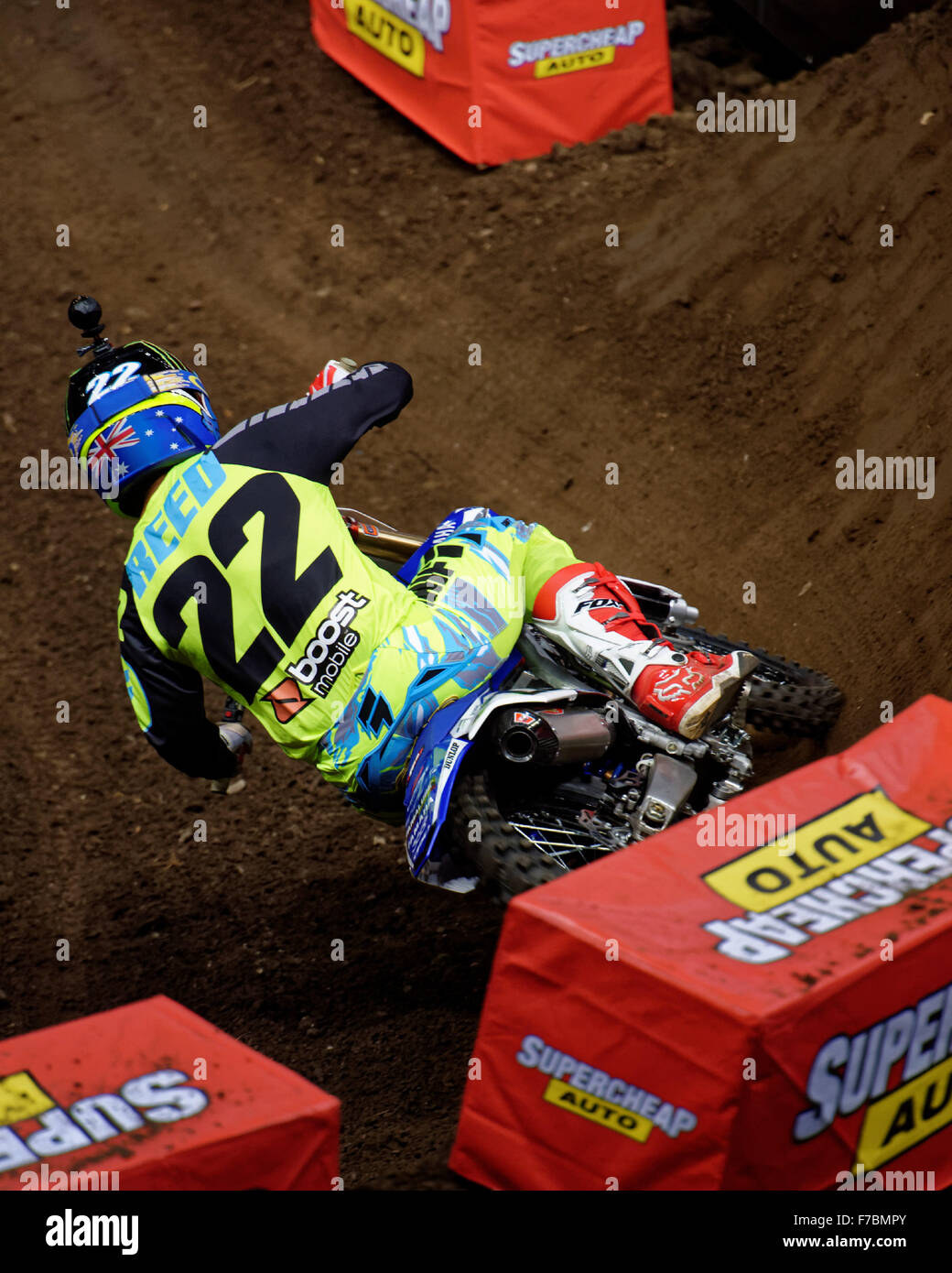 Sydney Olympic Park Australia 28th Nov 2015 The AUS X Open Motocross Day One Chad Reed Rider Of 22 Yamaha Digs Into A Berm In SX1