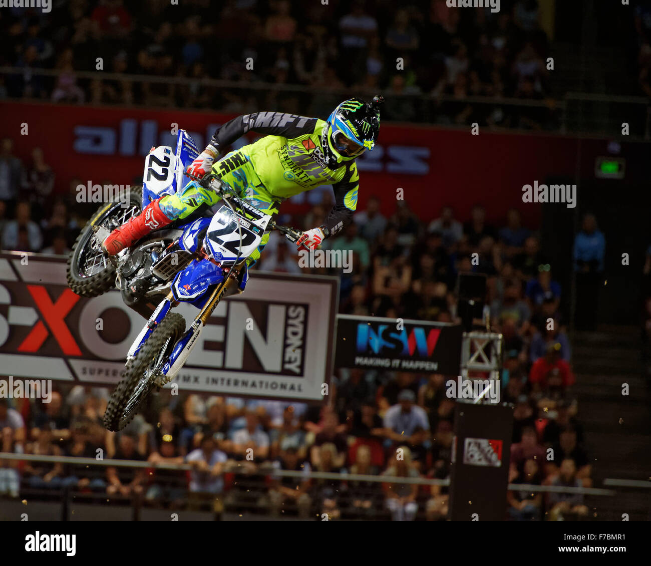 Sydney Olympic Park Australia 28th Nov 2015 The AUS X Open Motocross Day One Chad Reed Rider Of 22 Yamaha Comes Down After A Jump In