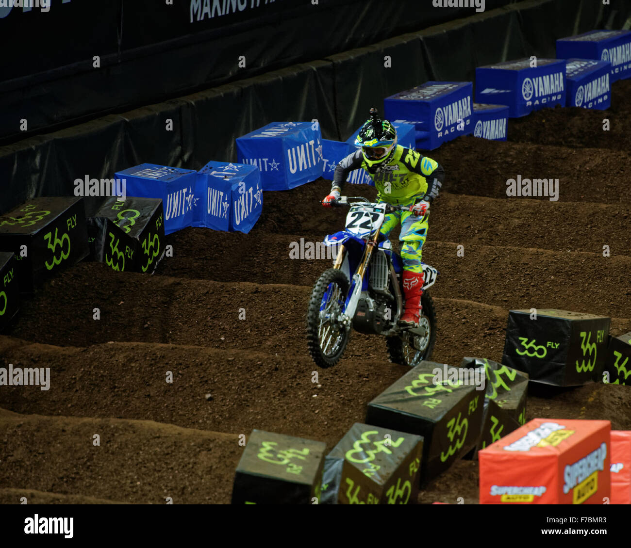 Sydney Olympic Park Australia 28th Nov 2015 The AUS X Open Motocross Day One Chad Reed Rider Of 22 Yamaha Charges Home In SX1 Finals