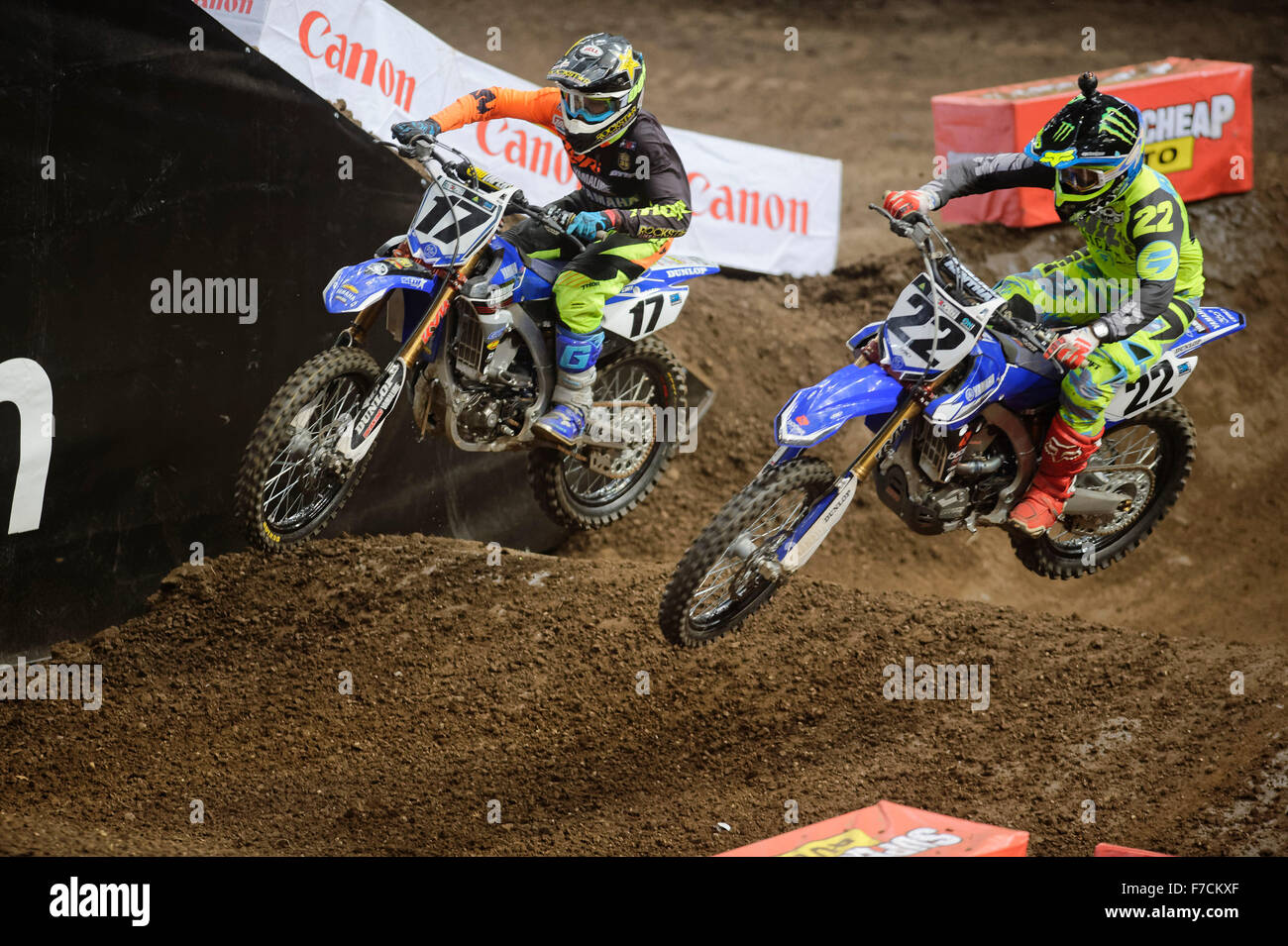 Sydney Olympic Park Australia 29th Nov 2015 The AUS X Open Motocross Day Two Chad Reed Rider Of 22 Yamaha In A Last Lap Thriller With 17