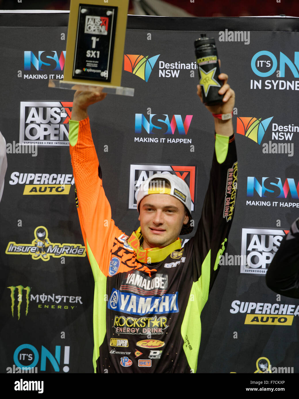 Sydney Olympic Park Australia 29th Nov 2015 The AUS X Open Motocross Day Two Winner Cooper Webb Yamaha Shows Off His First Place Trophy In