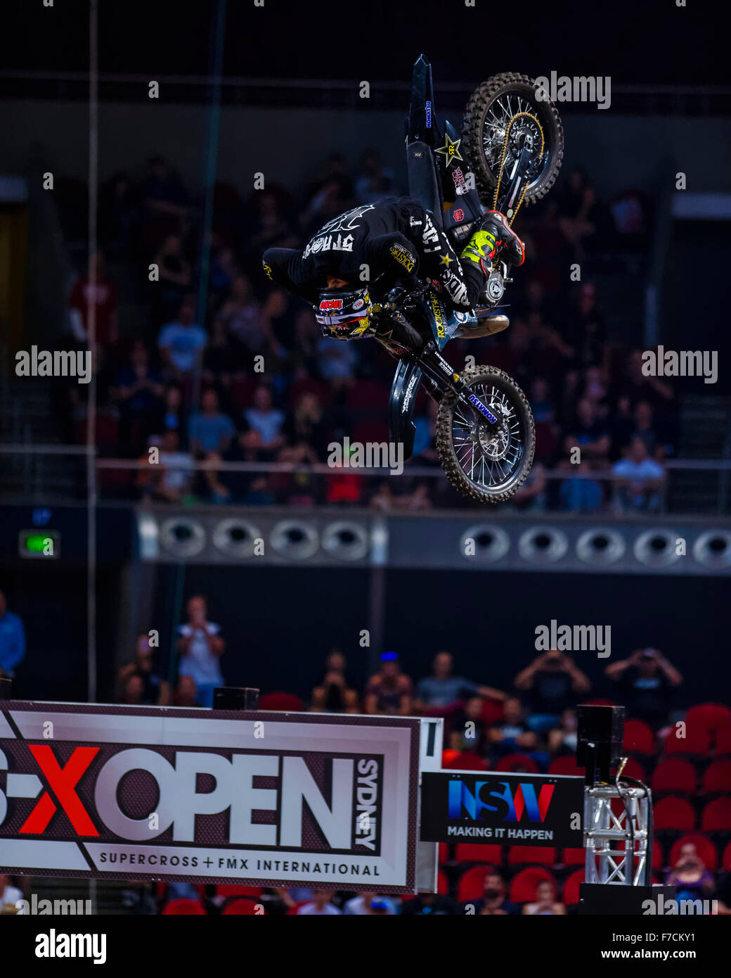 Sydney Olympic Park Australia 29th Nov 2015 The AUS X Open Motocross Day Two Jackson Strong Performs His Best Trick To Take Out Freestyle