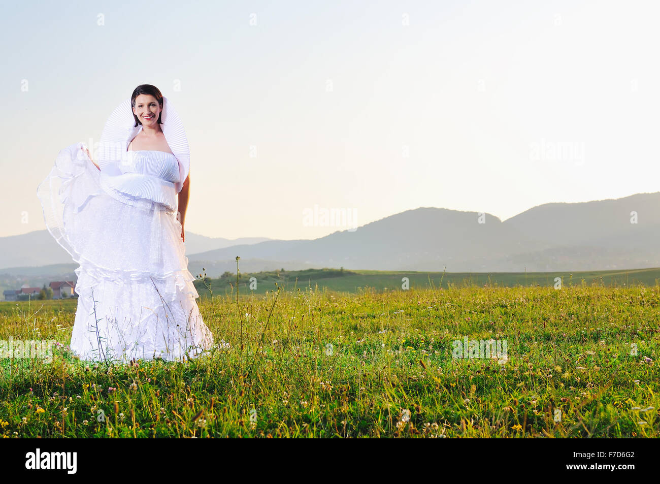 Happy Young Beautiful Bride After Wedding Ceremony Event