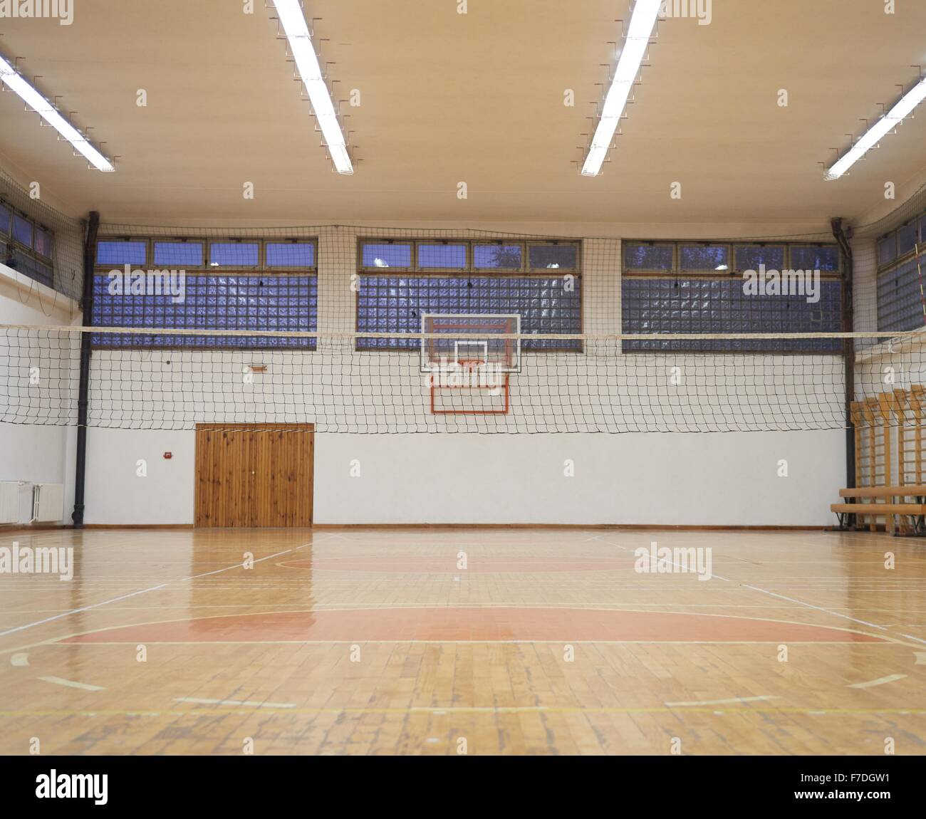 elementary school gym indoor with volleyball net Stock Photo ...