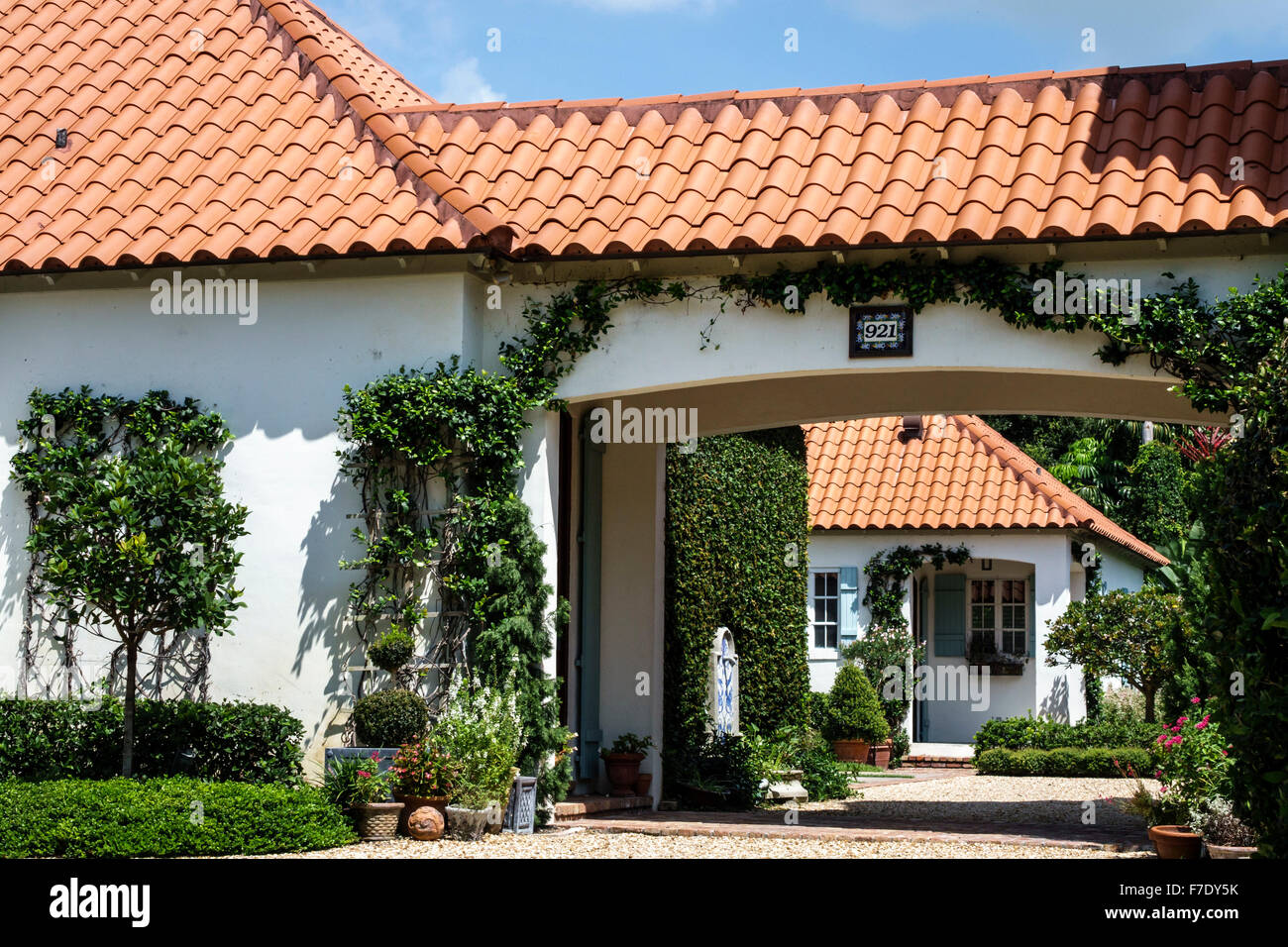 Stock Photo   Vero Beach Florida North Hutchinson Orchid Island Ladybug Lane  House Home Barrel Tile Roofing