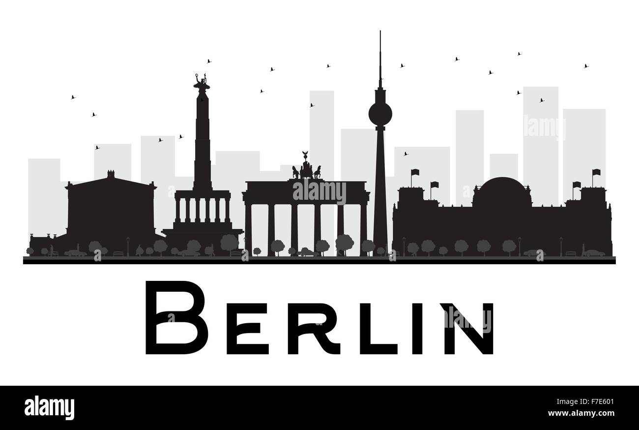 berlin city skyline black and white silhouette vector illustration stock vector art. Black Bedroom Furniture Sets. Home Design Ideas