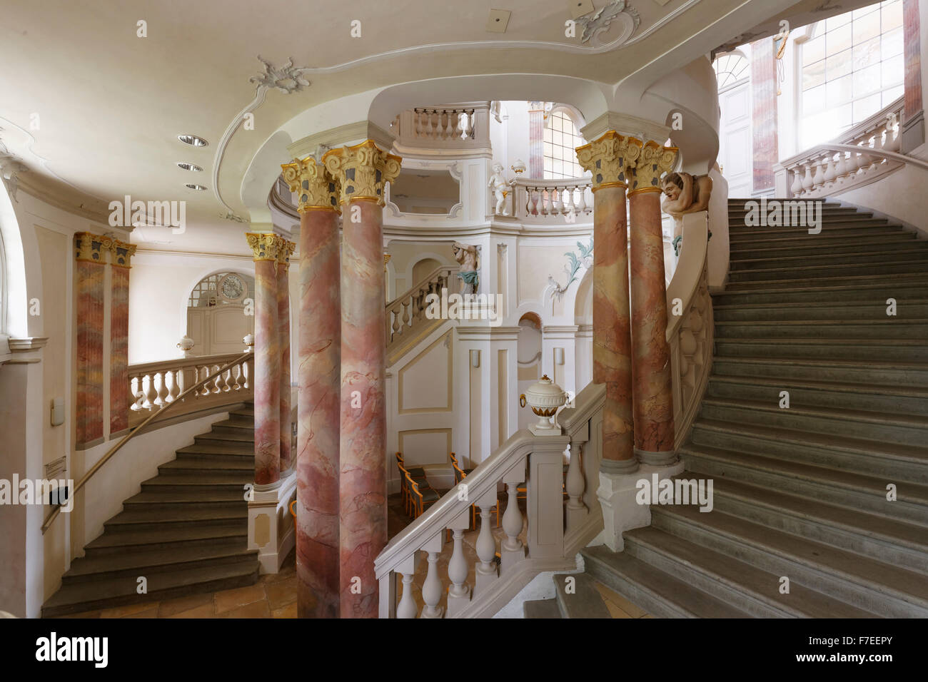 Baroque staircase stock photos baroque staircase stock images baroque staircase wurzacher castle bad wurzach upper swabia baden wrttemberg dailygadgetfo Image collections