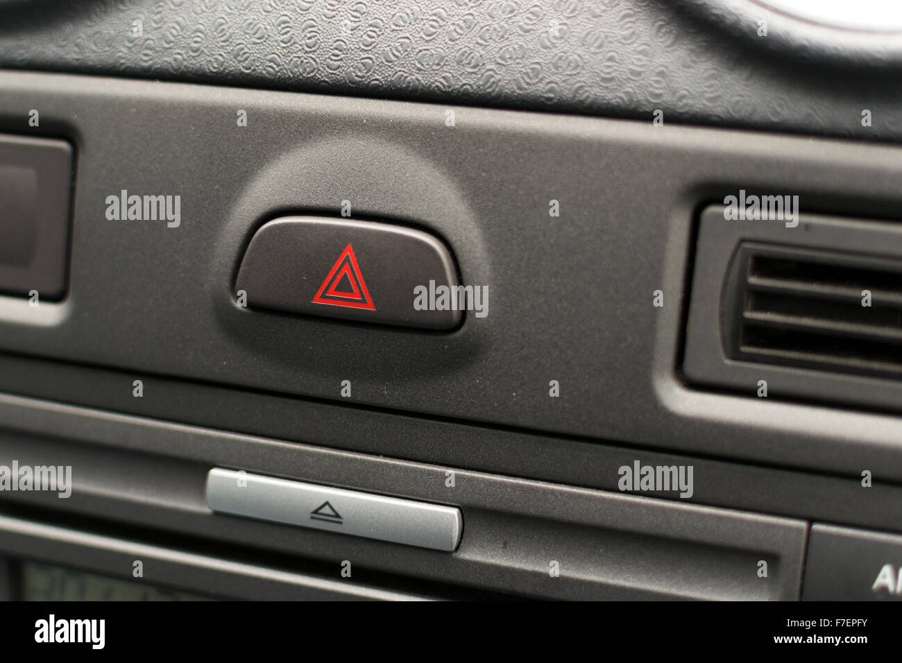 Grey Unknown Car Dashboard Interior With Hazard Warning Light - Car image sign of dashboarddashboard warning lights stock images royaltyfree images