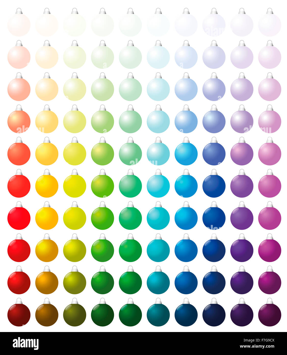 christmas balls exactly one hundred pieces sorted like a color chart stock photo royalty free. Black Bedroom Furniture Sets. Home Design Ideas
